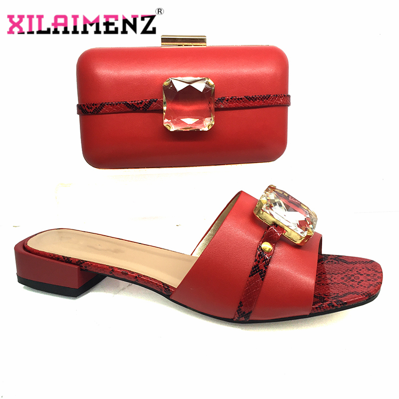 Fashionable Nigerian Shoes And Bag Set African Sets Red Color Italian Shoes With Matching Bags For Royal Wedding Party