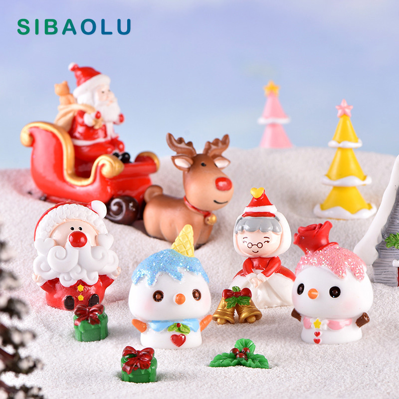 Christmas Grandma Snowman Moon model cartoon Figurine Dollhouse cake home decor miniature fairy garden decoration accessories