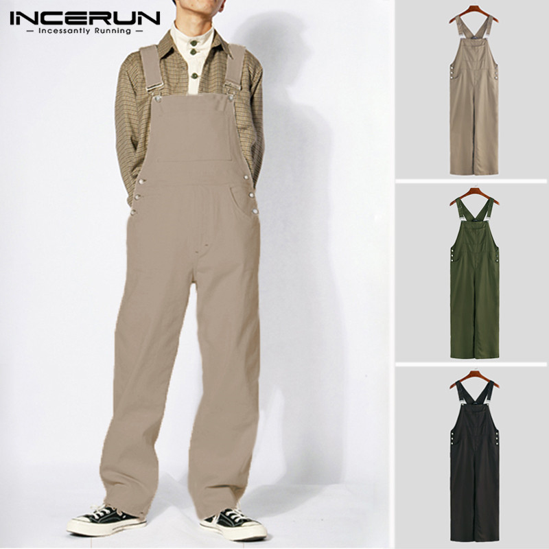 2019 Stylish Men Rompers Pockets Jumpsuit Solid Color Baggy Straps Streetwear Overalls Men Straight Pants Joggers INCERUN S-5XL