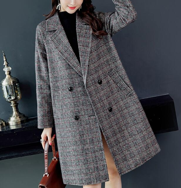 Winter Fashion Tweed Wool Women Blazers Thicken Jackets Ladies Outerwear Pockets Female Long Suits Coat Woman Blaser Mujer S0074
