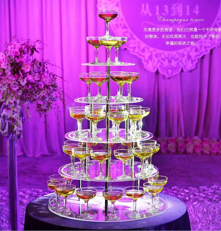 Birthday Ceremony Wedding Creative Layout Acrylic Five Layer Round Wine Tower Wedding Props Champagne Tower