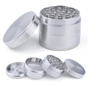 4 Layers Tobacco Grinder Herb Weed Grinder with Mill Handle Silver Color Smoke Grinder Metal Kitchen Gadgets(China)
