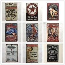 [Luckyaboy] Kitchen whisky Pinup Route 66 placa carteles de hojalata Vintage Home Bar Pub Garage Decor Plates Man Cave Wall Sticker