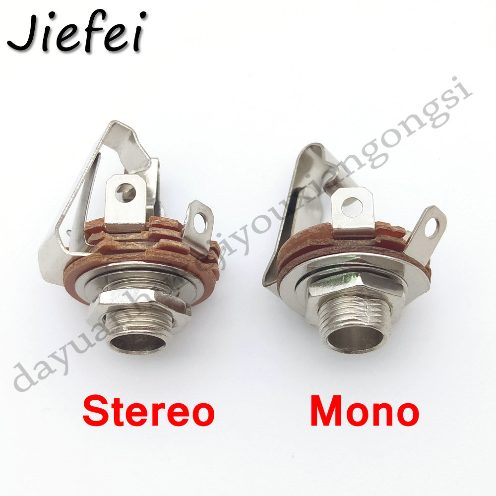 3Pcs 2 Pole Mono / 3 Pole Stereo Plug Jack With Switch Audio Female Connector 6.35mm 6.3mm 1/4