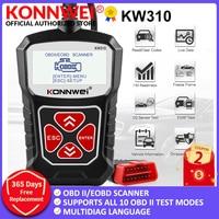 Konnwei-scanner automotivo kw310 obd2, ferramenta de diagnóstico para carro, idioma russo, pk elm327