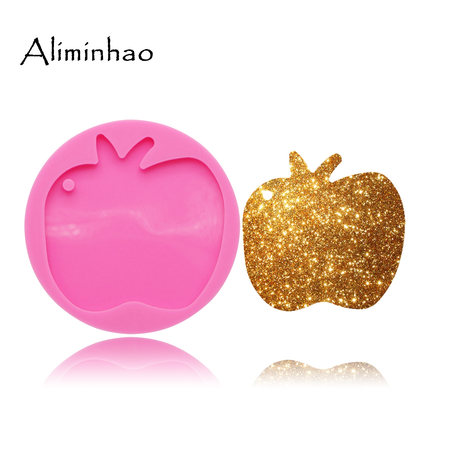 DY0081 Shiny Apple Silicone Keychains Mold Key Chain Pendant Clay DIY Jewelry Making Epoxy Resin Mold