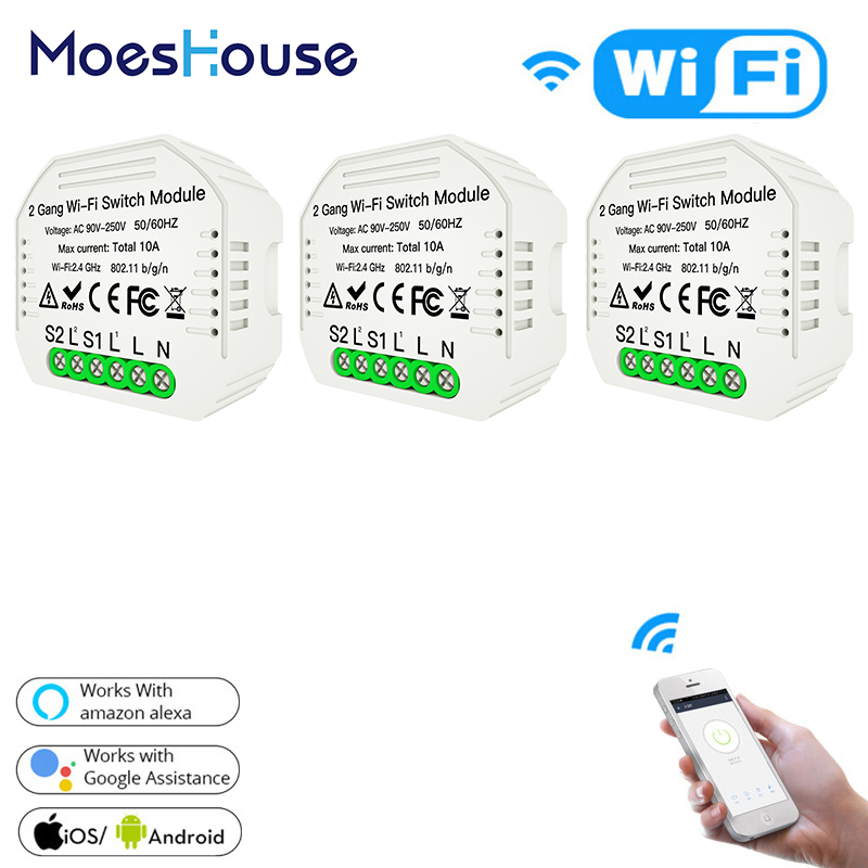 WiFi Smart Light Switch Diy Module Smart Life/Tuya APP Remote Control Works With Alexa Echo Google Home 2 Gang 1/2 Way