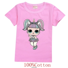 LOL Surprise Doll Girls Kids Summer O-Neck Cotton T Shirt Children Baby Short Sleeve T-shirt Tees Tops Clothes Various Colors