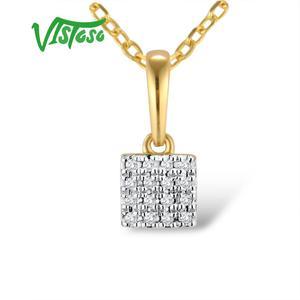 Image 3 - VISTOSO Gold Pendants For Women Authentic 14K 585 Rose White Gold Sparkling Diamond Simple Square Pendant Wedding Fine Jewelry