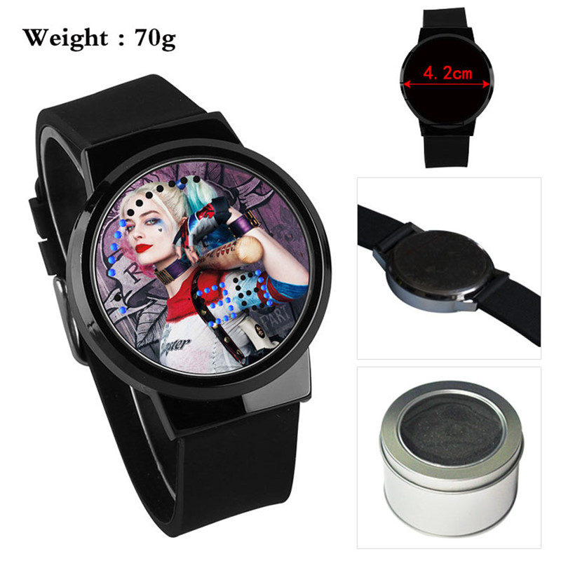 Suicide Squad Harley Quinn Clown Anime Boys Girls Watch Waterproof LED Touch Screen Wrist Watches Watch Student Gift