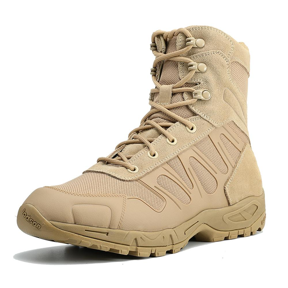 IODSON 2019 Autumn New Men's Tactical Boots Fashion Ankle Boots Work Safety Men's Shoes Mocha Bicycle Army Beach Boots