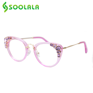 Image 2 - SOOLALA Cateye Reading Glasses Womens Luxury Rhinestone Eyeglasses Leopard Black Purple Presbyopia Reading Glasses +0.5 to 4.0
