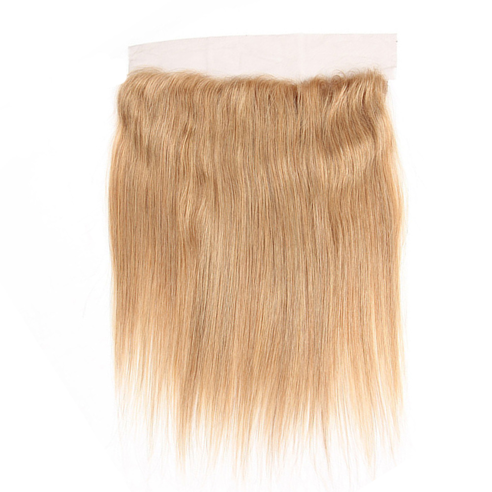 13x4 Blonde Human Hair Lace Frontal Straight Ear to Ear European Remy Human Hair Lace Closure with Baby Hair Free Part #613 #27 image