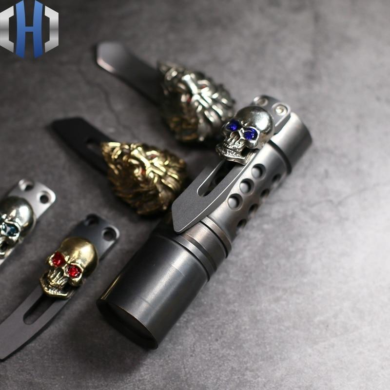 Stainless Steel Flashlight Back Clip Skull Lion Buckle EDC Tools