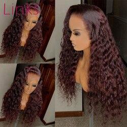 Links 30 polegada frente do laço perucas de cabelo humano para as mulheres encaracolado brasileiro remy destaque colorido 99j burgandy peruca frontal pré arrancado