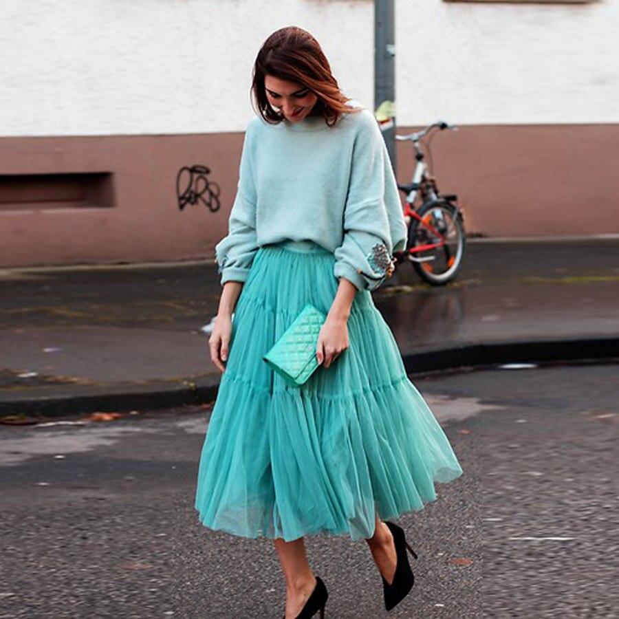 Modest Turquoise A-line Tulle Skirts Zipper Custom Made Ankle Length Pretty Tutu Skirt Female Casual Skirt Tulle