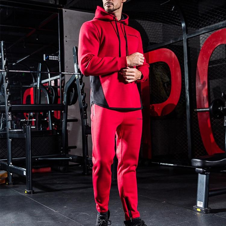 2018 Autumn New Style Workout Clothes MEN'S Suit Sports Casual Elasticity Plus Velvet Hoodie Sweatpants Sports Two-Piece Set