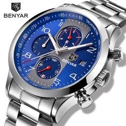 Kwarcowe zegarki męskie BENYAR nowy top marka stalowy zegarek mężczyźni wodoodporny zegar mężczyźni niebieski sport chronograph Relogio Masculino