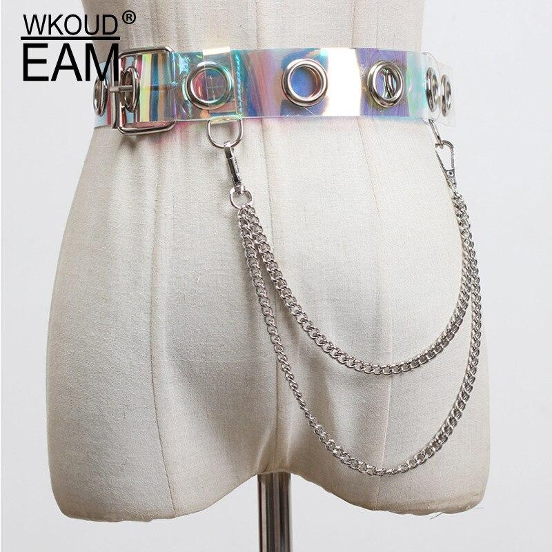 WKOUD EAM 2020 New Metal Chain Hollow Out Transparent PVC Belt Women Fashion Wild Round Ring Corset Belt Female Waistband PF525