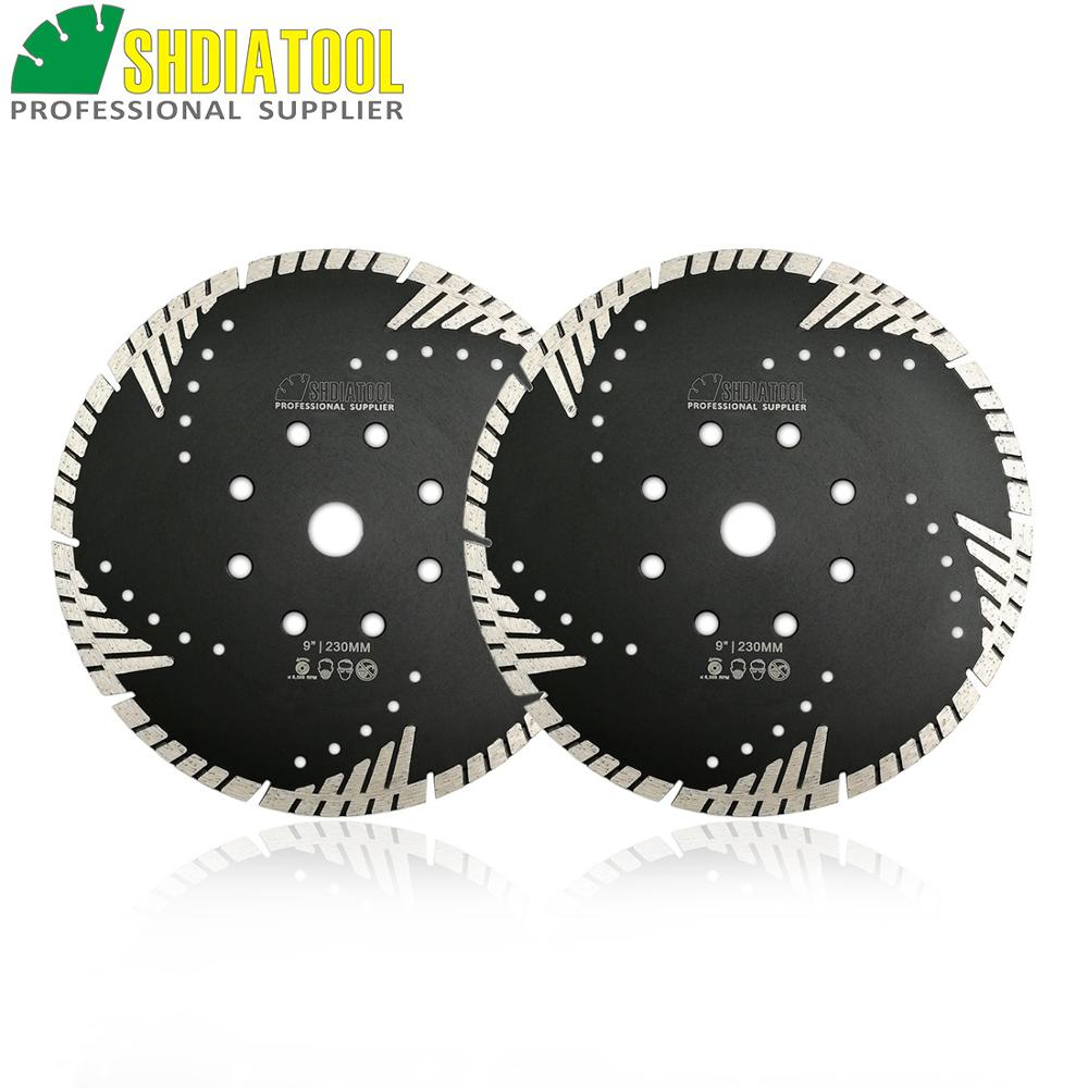 SHDIATOOL 2pcs 9 230mm Diamond Blades Cutting Disc Hot Pressed Turbo Blade With Slant Protection Teeth
