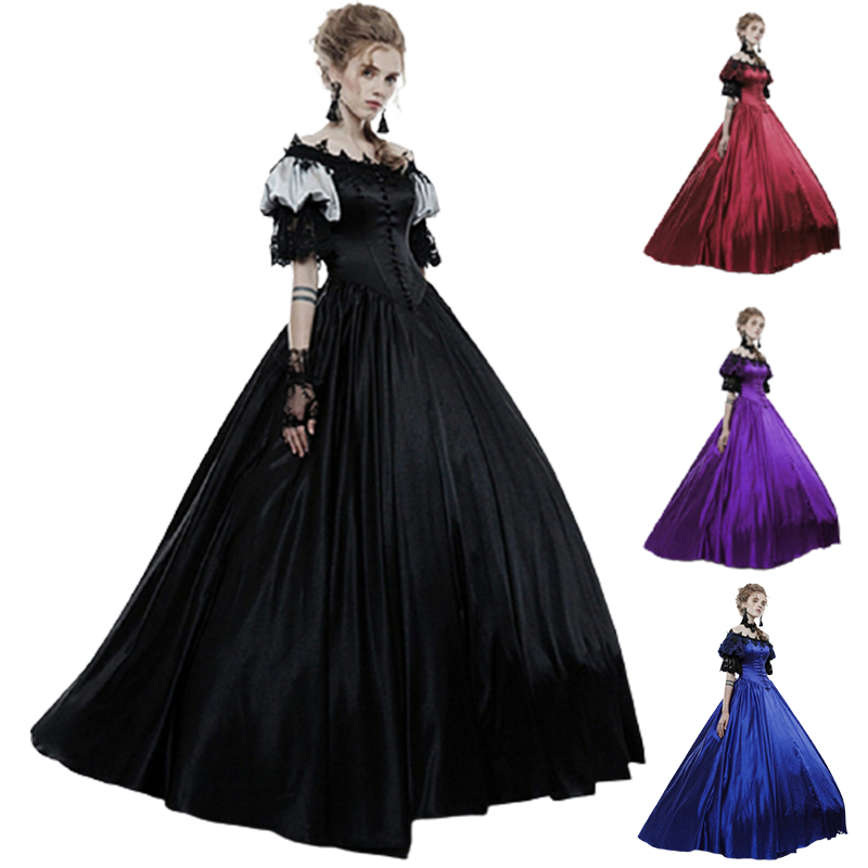 New Women Medieval Renaissance Retro Gown Long Dress Wizard Cosplay Clothes Victorian Gothic Steampunk Vintage Ball Gown Dress