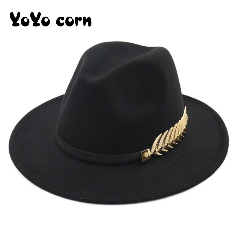 YOYOCORN  Fedoras Big Brim Hats For Women British Style Vintage Church Hats Lady Flat Brim Fedoras Autumn Winter Womens Felt Hat