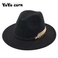 YOYOCORN sombreros grandes sombreros de ala para las mujeres de estilo británico Vintage sombreros para misa señora ala plana sombreros de otoño e invierno para mujer sombrero de fieltro