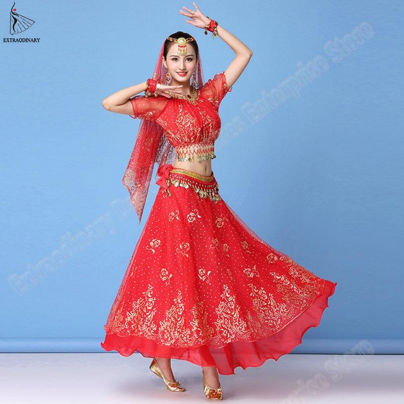 Bollywood Dress Costume Women Set Indian Dance Sari Belly Dance Outfit Performance Clothes Chiffon Top+Belt+Skirt