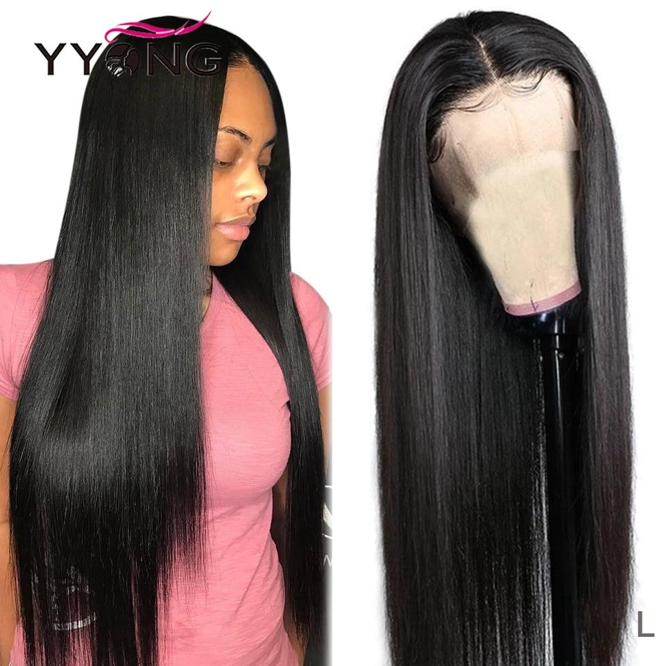 YYong-Peluca de cabello humano liso con malla frontal prearrancada, pelo de bebé, Remy brasileño de 32 pulgadas, cierre de encaje, 4x4 y 13x4