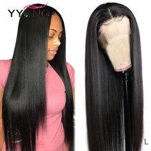 Perruque Lace Closure Wig Remy naturelle – YYong, cheveux longs lisses, 4x4 et 13x4, pre-plucked, avec Baby Hair, 30 pouces