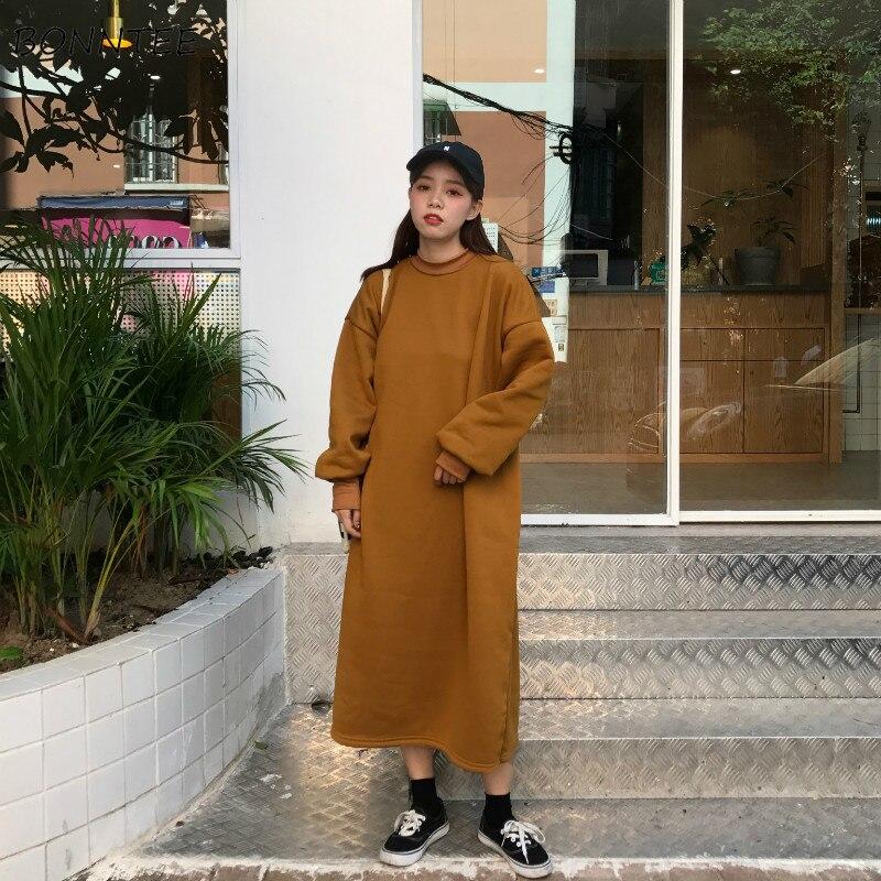 Hoodies Women Hooded Long Loose Solid Simple All-match Korean Pullovers Womens Oversize Trendy Ulzzang Harajuku Sweatshirts