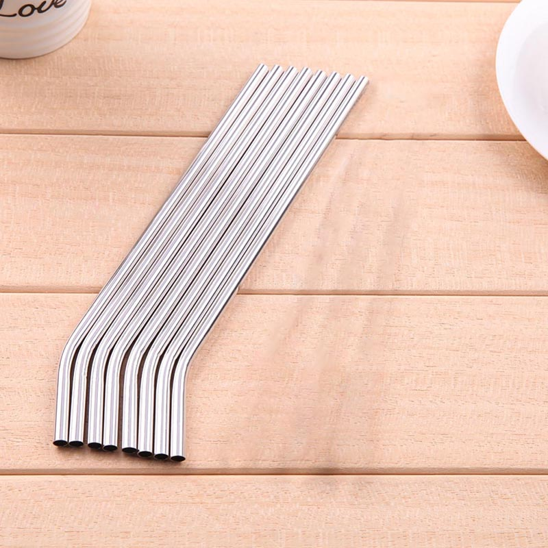 New-100/Batch Metal Straws Can Be Reused 304 Stainless Steel Drinking Water Pipes 215 Mm x 6 Mm Curved Straws 100Pcs image