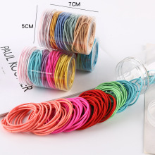 100pcs/box Candy Color Women's Rubber Bands Black Pink Blue Red Green Color Small Thin Rubber Hair Bands for Kids Female