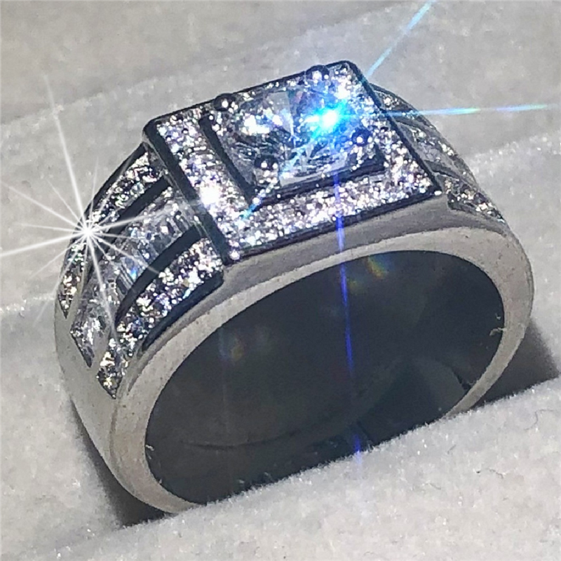 Original 100% 925 Sterling Silver Wedding Rings For Men Luxury Round Cut 1.2ct Simulated Diamond Ring Set Jewelry Size 8-13