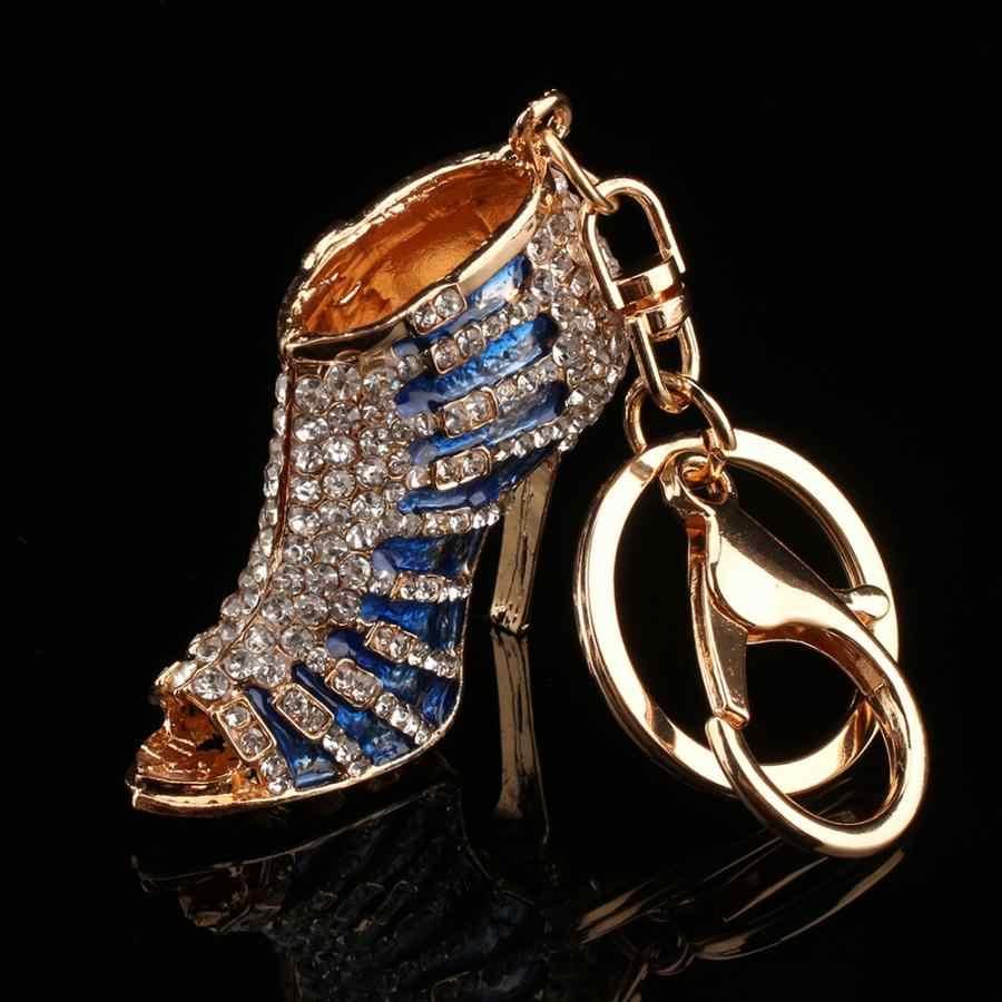 Kristal ayakkabı anahtarlık mavi yüksek topuk kolye Rhinestones anahtarlık cüzdan çanta halkalı anahtarlık hediye çantası aksesuarları