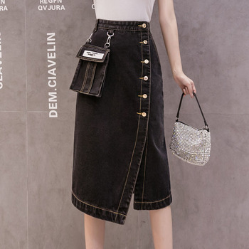 2020 Streetwear Black Denim Skirt All-Match Fashion Irregular Single Breasted Jean Mid Skirt For Women Autumn New Arrival vintage single breasted solid color furcal denim suspender skirt