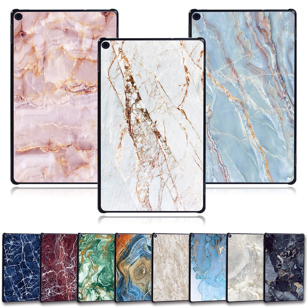 KK&LL For Amazon Fire HD 10(7th/5th Generation,2017/2015 Release) -tablet PC Plastic Marble Pattern Slim Stand Case Cover