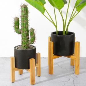Portable Single Bay Bamboo Flower Stand Mini Flower Pot Holder Plant Pot Shelf Four-legged Vase Flower Pot Slip Bracket(China)