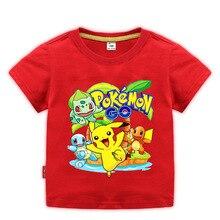 2-10Years Summer Children Shorts t-shirts cotton Pokemon Go Kids boys girls tops tees t shirts for  baby boys pikachu clotheing стоимость