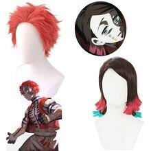 Парик из японского аниме «рассекающий демонов» киметсу no Yaiba Akaza, короткий красный парик Enmu для выступлений, костюмов, парик для волос