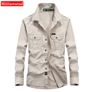 цена на Brand Shirt Men Casual Shirts 100% Cotton Long Sleeves Shirt Army Military Camisa Masculina Size 6XL Solid Men Shirt