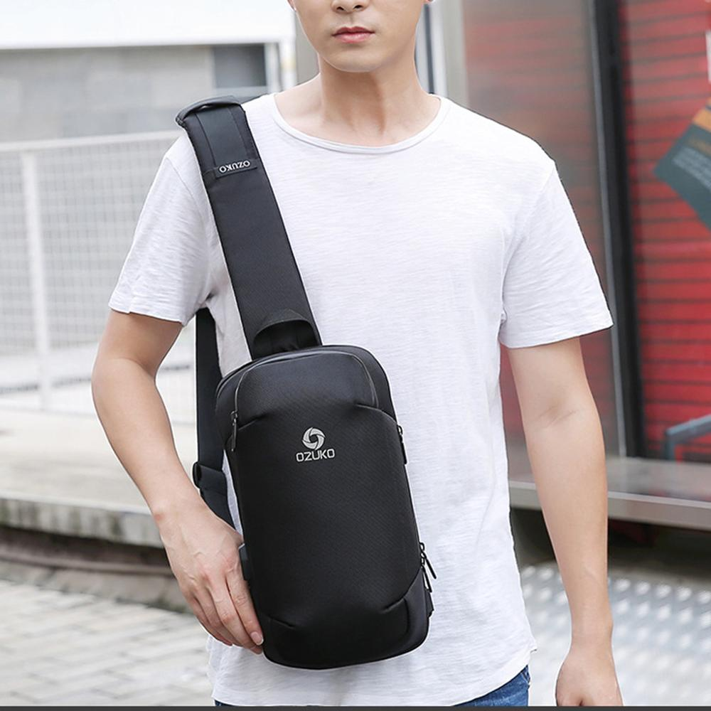 OZUKO Men's Multi-function Anti Theft Crossbody Bags 9.7inch Shoulder Messenger Bag USB Charging Waterproof Travel Chest Bag