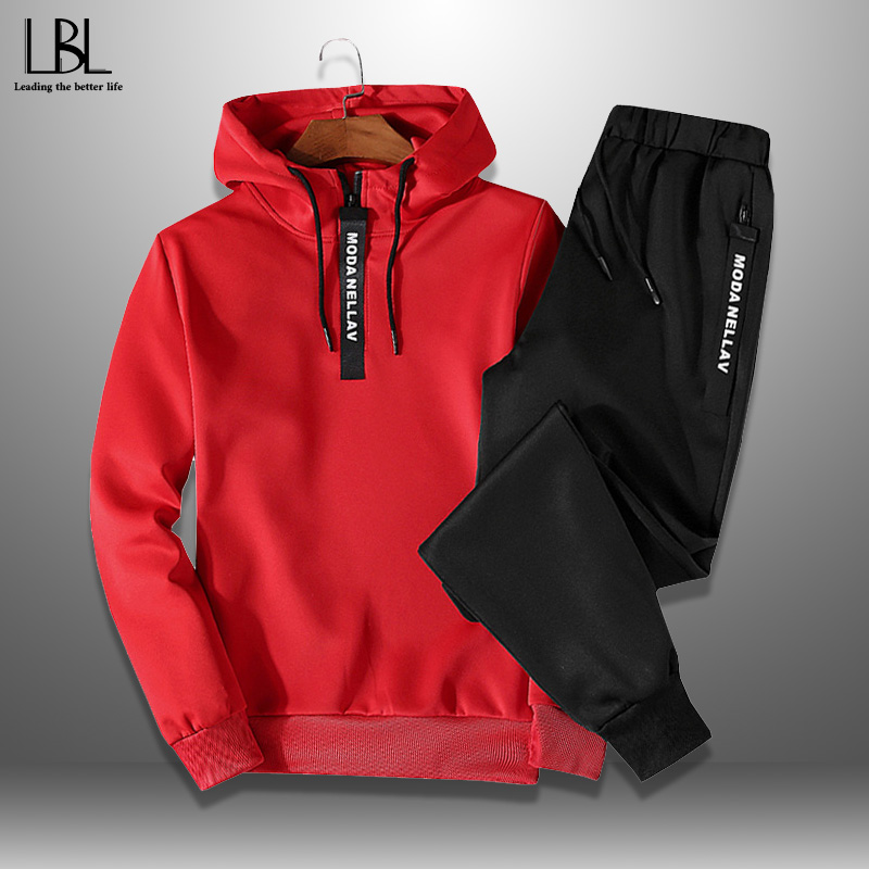 Men's Sportswear Sets 2020 Spring Autumn Casual Tracksuit Men 2 Piece Sweatshirt + Sweatpants Set Male Hoodie Sets Outwear 5XL