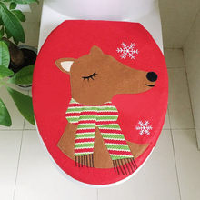 2019 Christmas New Fashion Decoration Christmas Snowman Lid Single Toilet Cover Cute Animal Bathroom Decoration(China)