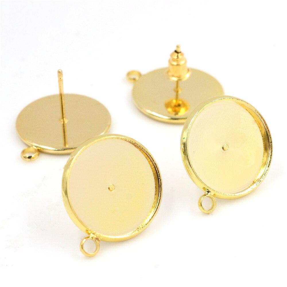 16mm 10pcs/Lot Gold Colors Plated Earring Studs,Earrings Blank/Base,Fit 16mm Glass Cabochons,earring Setting-T2-10