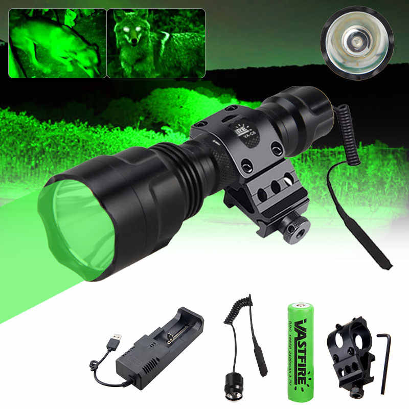 3-Modes Red Green Blue LED Hunting Flashlight 25mm Ring Weapon Rail Mount Torch