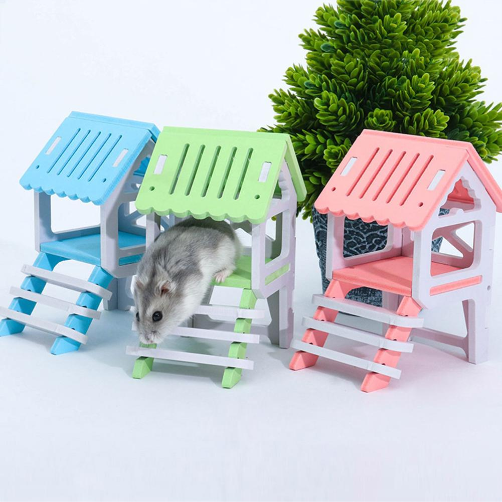 Wooden House Chinchilla Hamster Nest Attic Small Animal Playing Chewing Pet Toy