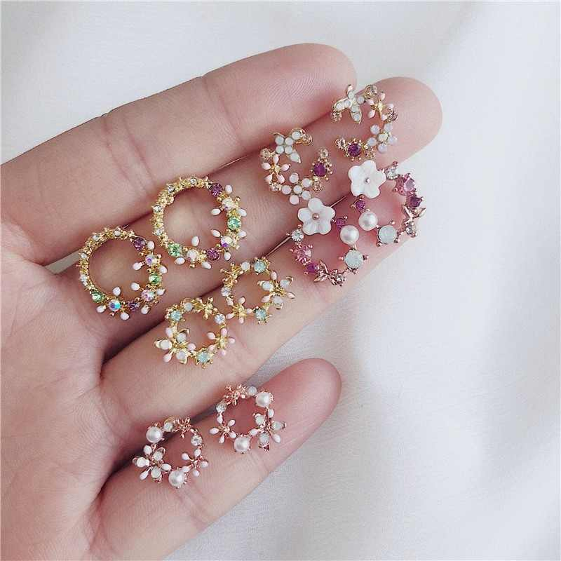 2019 Fashion Design Flower Stud Earrings For Women Colorful Ear Ring Simple Earrings Female Wedding Party Jewelry Gifts