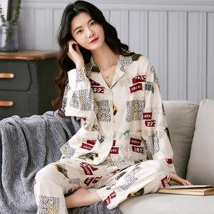 Image 4 - BZEL Hot البيع الخريف الشتاء ملابس خاصة القطن السيدات منامة مجموعة طويلة الأكمام المقالي داخلية جميلة ملابس النوم بيجامة M 4XL