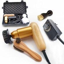 Купить с кэшбэком Professional 75W Electric Shoe Polish Pig Bristle Hair, Oil Polish Tool, Scrub Suede Fur, Wood Portable Brush Leather Care Tools